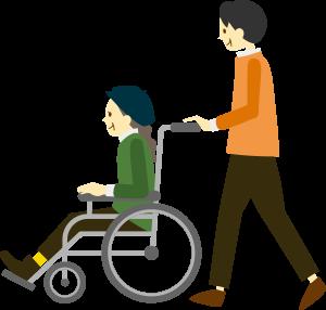 車いすの女性と車椅子を押す男性